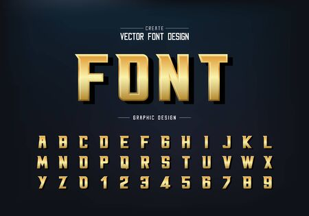 Gold shadow font and alphabet vector, Golden bold Modern Typeface and letter number design, Graphic text on background