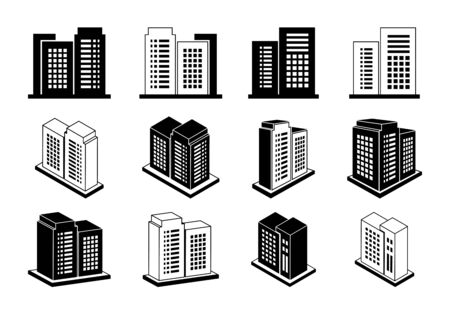 Icon 3D company set on white background,  Perspective building vector collection,  Bank and office illustration, Out line construction and edifice