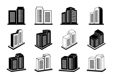 Icon company vector set on white background, Modern 3D buildings collection, Perspective bank and office illustration, black line construction and edifice Illustration