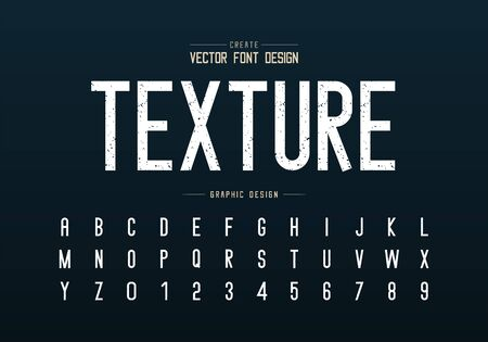 Texture font and alphabet vector, Rough letter typeface and number design, Graphic text on background