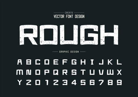 Texture font and cartoon alphabet vector, Rough square typeface letter and number design, Graphic text on background Ilustração Vetorial