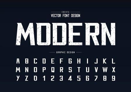 Police de texture et vecteur d'alphabet, police de caractères moderne audacieuse et conception de numéro de lettre, texte graphique sur fond