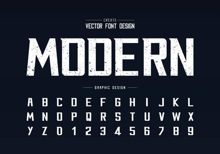 Texture font and alphabet vector, Rough bold modern typeface and letter number design, Graphic text on background