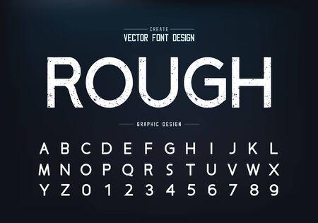 Textur-Schriftart und Alphabet-Vektor, grobe Design-Schrift und Nummer, grafischer Text auf dem Hintergrund