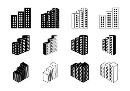Ensemble d'icônes de construction et d'entreprise, collection de banque et de bureau Perspective, illustration de construction et d'édifice modernes de ligne