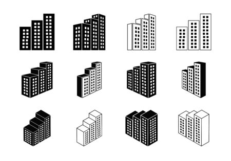 Icons building and company vector set, Perspective bank and office collection, Line modern construction and edifice illustration