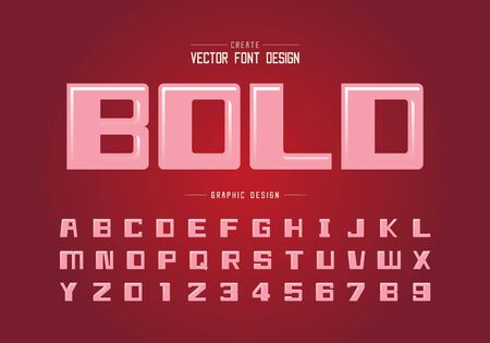Highlights font and bold alphabet vector, Square typeface letter and number design, Graphic text on red gradients background