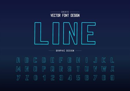 Line font and bold alphabet vector, Bule typeface and number design, Graphic text on background