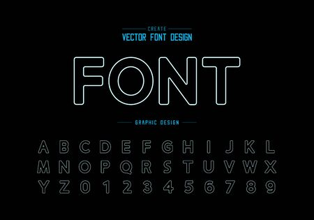 Line font and round alphabet vector, Design typeface and number, Graphic text on black background