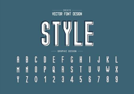 Line font with white shadow and alphabet vector, Tall typeface letter and number design, Graphic text on background Ilustração
