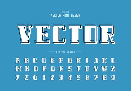Line font with white shadow and bold alphabet vector, Script and number design, Graphic text on blue background Ilustração