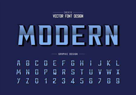 Reflective font and bold alphabet vector, Gradient modern typeface and letter number design, Graphic text on background Ilustração