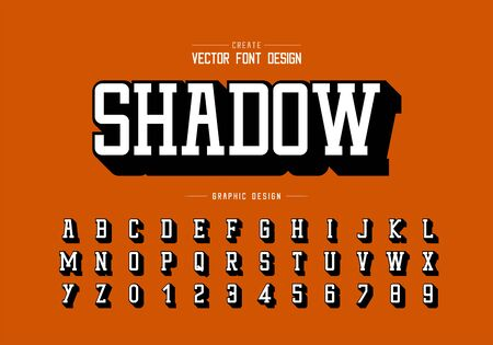 Shadow font and alphabet vector, Typeface and number design, Graphic text on orange background