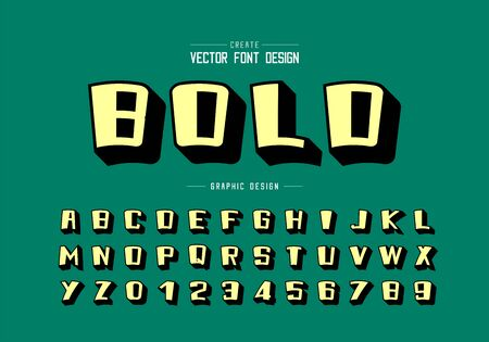 Shadow font and cartoon alphabet vector, Yellow bold typeface and number design, Graphic text on green background Ilustração