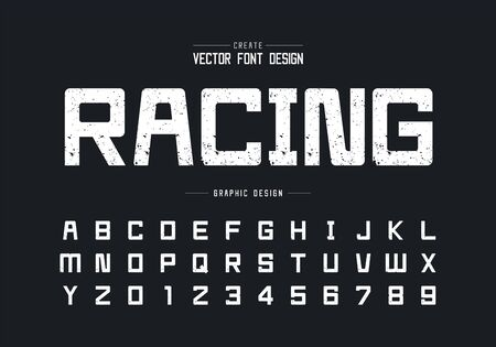 Texture font and alphabet vector, Rough square typeface letter and number design, Racing graphic text on background