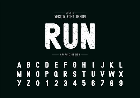 Texture font and alphabet vector, Rough style typeface letter and number design, Run graphic text on black background Ilustração Vetorial