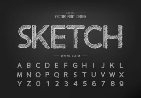 Chalk font and alphabet vector, Hand draw design typeface and number, Graphic text on blackboard background