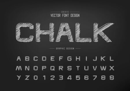Chalk font and alphabet vector, Hand draw design typeface letter and number, Graphic text on background Ilustração