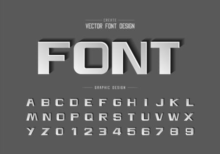Font paper cut and bold alphabet vector, Script design typeface letter and number, Graphic text on background