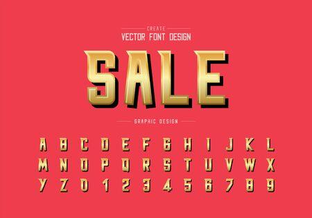 Gold font and alphabet vector, Sale golden modern typeface and letter number design, Graphic text on background Ilustração