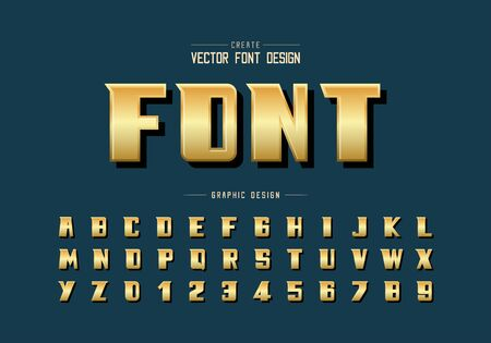 Gold font and bold alphabet vector, Golden modern typeface and letter number design, Graphic text on background