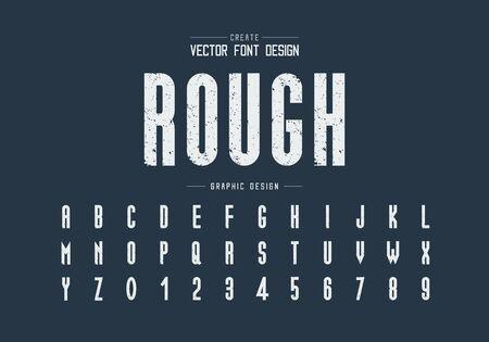 Textur-Schriftart und Alphabet-Vektor, raues großes Schrift- und Zahlendesign, grafischer Text auf dem Hintergrund