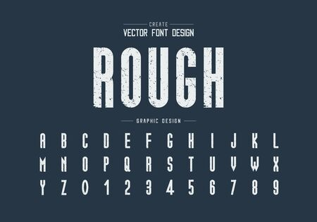 Texture font and alphabet vector, Rough tall typeface letter and number design, Graphic text on background