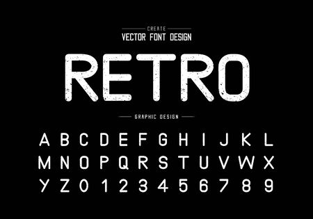 Texture retro font and alphabet vector, Rough typeface letter and number design, Graphic text on background Vecteurs