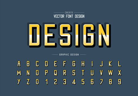 Reflective font and alphabet vector, Gradient style typeface and letter number design, Graphic text on background Illusztráció