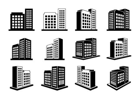 Building icons set and perspective company vector collection on white background, Black line hotel condo and apartment illustration, Isometric graphic bank and office silhouette Vetores