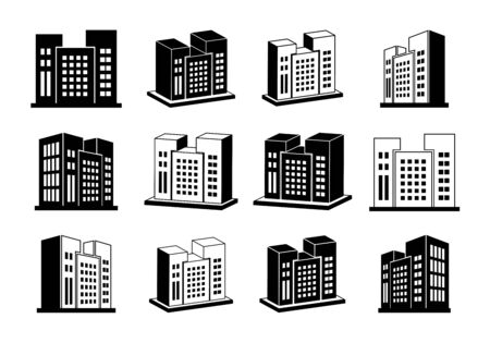 Company icons set, Building perspective vector collection on white background, 3D hotel condo and apartment illustration, Black line isometric graphic bank and office silhouette