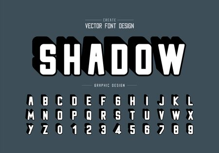 Shadow round font and alphabet vector, Typeface and letter number design, Graphic text on background