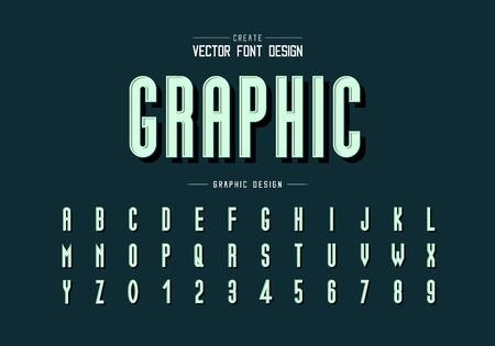 Black shadow font and alphabet vector, Tall typeface letter and number design, Graphic text on background