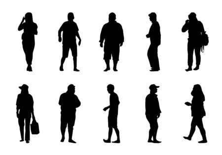 People walking silhouette set on white background, Lifestyle man and women vector