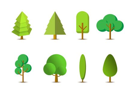 Icon green trees vector set on white background, Flat forest vector collection, isolated draw nature illustration