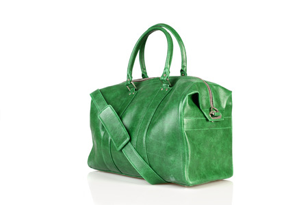 personal shopper: green woman bag isolated on the white background