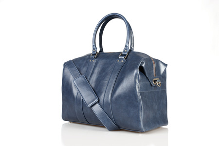 personal shopper: blue woman bag isolated on the white background