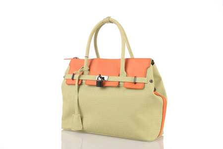 personal shopper: khaki woman bag isolated on the white background