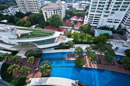 view from above to club house with the pool  condominium in bangkok  photo