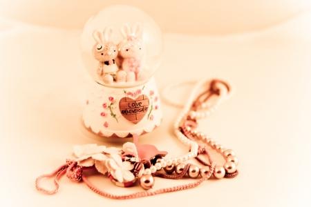 heart shaped stuff: love memory Stock Photo