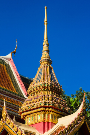Thai temple with nice sky background Stock Photo