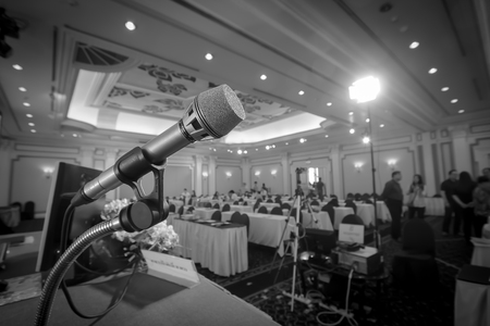 microphone against the background of convention center Archivio Fotografico