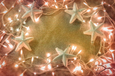 christmas background from the orange color xmas lights.jpg Stock Photo