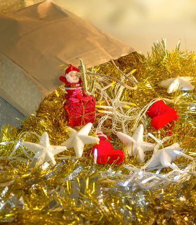 Christmas toys texture background with decoration light