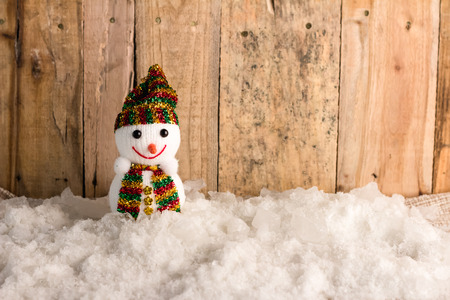 snow ball: happy snow ball  on snow and wooden background