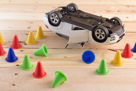 Accident  car model on wooden background drunk driven concept
