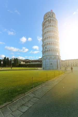 miracle square: Leaning Tower of Pisa in Tuscany Italy with beautiful sky. Stock Photo