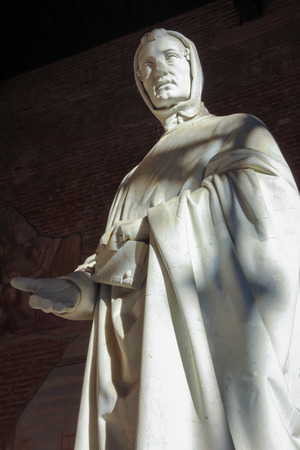 camposanto: Sculpture of old man in Campo Santo, Pisa. Italy. Detail of tomb of Ottaviano Fabri. Stock Photo