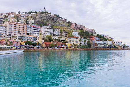 KUSADASI, TURKEY - december 2014 The aerial view of the harbor of Kusadasi town with main quay. Aegean coast of Turkey.
