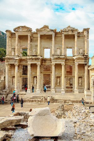 fertility goddess: EPHESUS, TURKEY - december 2014 The front facade and courtyard of the Library of Celsus at Ephesus is an ancient Greek and Roman structure. Reconstructed by archaeologists from old stones, it is near the city of Izmir in Turkey.